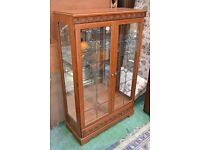 mirror backed display cabinet (integral light fittings to top)