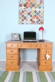 DELIVERY OPTIONS - RUSTIC SOLID PINE WRITING DESK WITH 9 DRAWERS DOVETAIL JOINTS