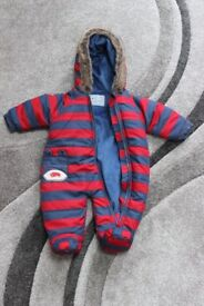 0-3 months – red & blue striped snow suit, one zip
