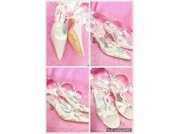 New boxed Designer Ivory Satin & Diamante Bride or Bridesmaid shoes sizes 3/4/5/6
