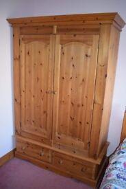 Large solid waxed pine wardrobe