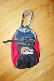 Lowe Alpine climbing chalk bag and carabiner