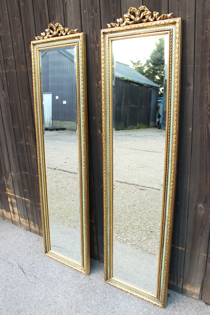 Pair of antique style tall slim bevelled narrow mirrors for Tall slim mirror