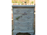 Pair of solid wood bow fronted chest of four drawers, handpainted