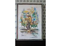 1970s Large Vintage German oil on canvas painting of Chinatown