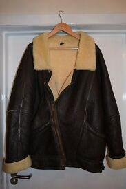 Mens 100% leather & shearling aviator jacket size 44