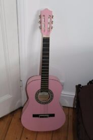Pink Falcon 3/4 Size Classical Guitar Strung for Left Hander Plus Case and Books