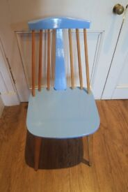 Pine Wood and Blue Painted Chair