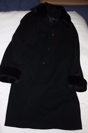 Black coat with fur trimmed collar and sleaves. House of Fraser size 12
