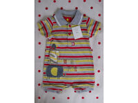 NEW with tag Tu/Sainsburys multi-colour cotton jersey short sleeve/collar romper.3-6 mths.£2.50 ovno