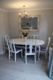shabby chic White table and 6x chairs Oval French Laura Ashley Extending