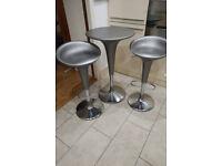 Magis Bombo table + 2 chair set (genuine & original) in silver
