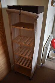 Two storage shelves