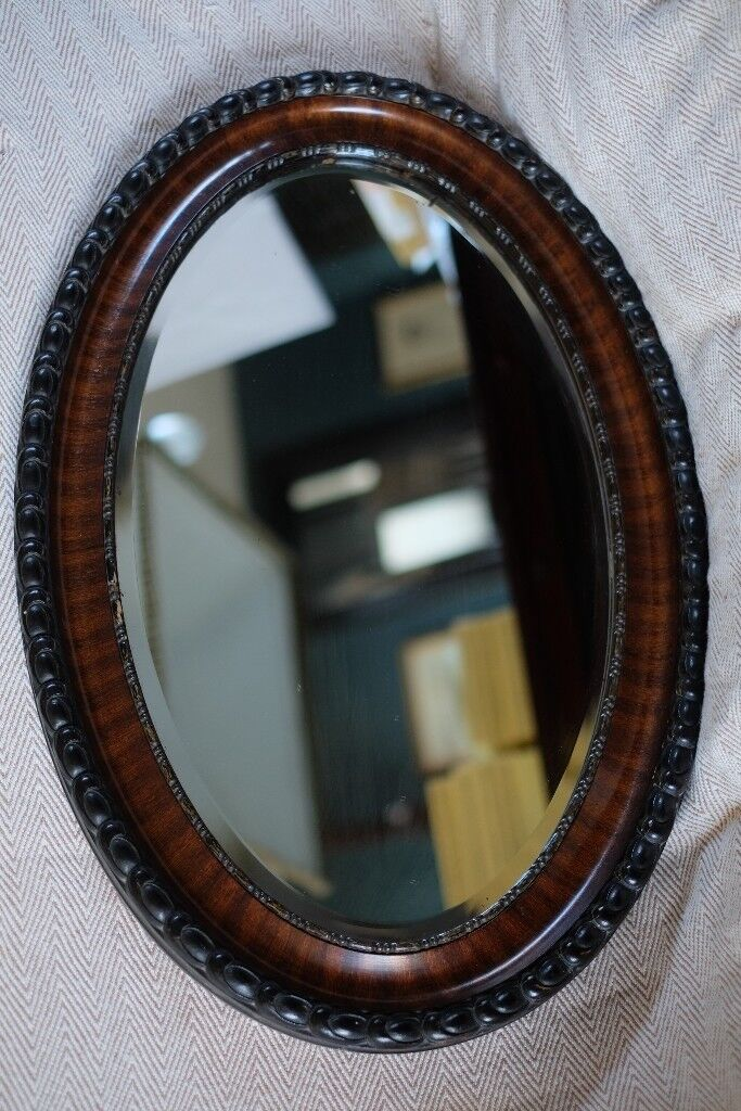 Large Heavy Antique Oval Mahogany Wall Mirror With Beveled Glass