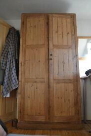 Large wardrobe, old reclaim pine, H: 2m13, W: 1m8, D: 48cm