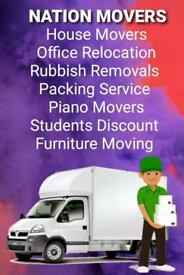 Urgent short notice 24/7 local Nationwide Hiuse and office Movers Rubbish Clearance piano Delivery