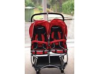 Stroll-Air My Duo double buggy pushchair with car seat adaptor and accessories.