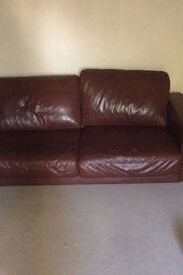 John Lewis Brown Leather 3 seater Sofa