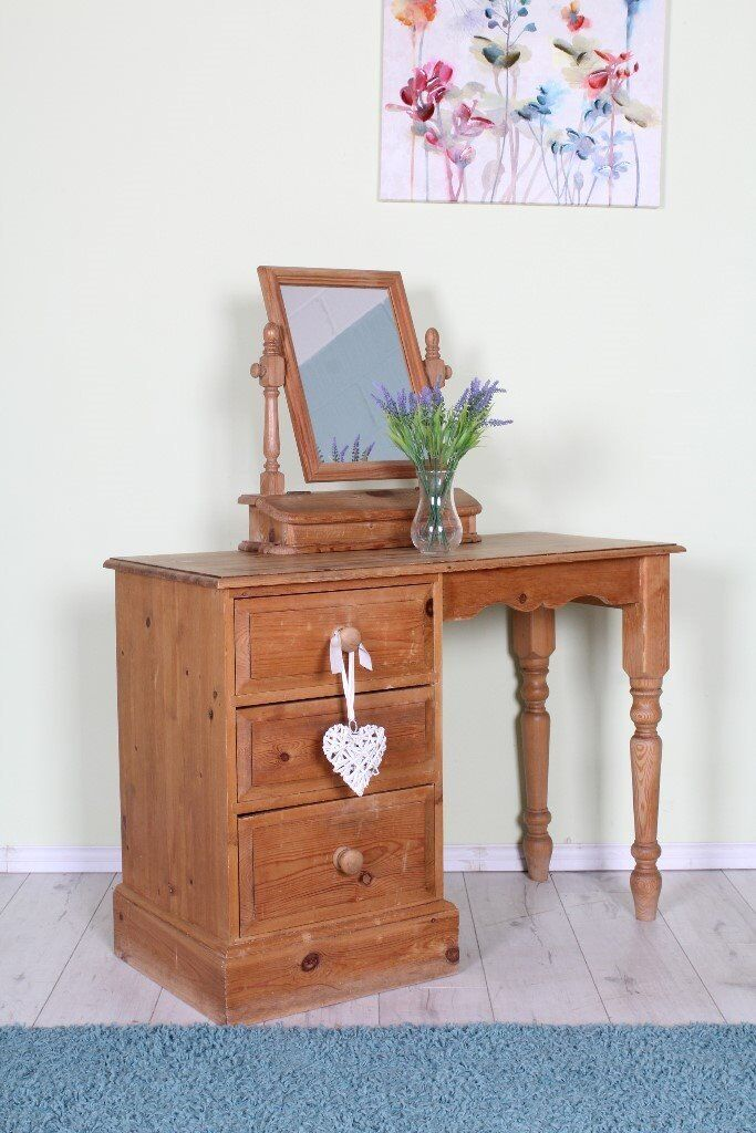 DELIVERY OPTIONS - PINE RUSTIC DRESSING TABLE PINE 3 DRAWERS TURNED LEGS MIRROR