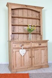 BEAUTIFUL RUSTIC OLD 4 FT FARMHOUSE PINE DRESSER QUALITY MADE WAXED ALL TONGUE GROOVE - CAN COURIER
