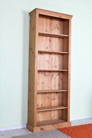 DELIVERY OPTIONS - 7 FT SOLID PINE BOOKCASE 5 SHELVES WAXED SOLID THICK PINE
