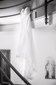 Beautiful Ivory Wedding Dress with Open Back & Cathedral Length Veil