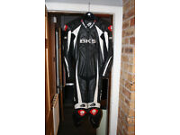BKS Leopard Leather Motorcycle Race Suit - fits 6 foot medium build