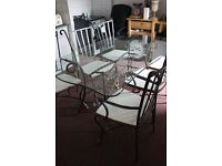 6 Seat Glass Dining Table with Matching Chairs