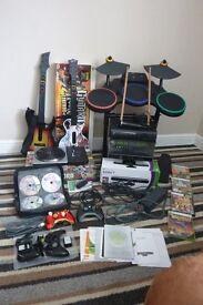 XBox 360 Elite (Matte Black) With Kinect , Full Guitar Hero Band Set , DJ Hero & Many Games