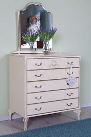 LOUIS FRENCH STYLE DRESSING TABLE/CHEST OF DRAWERS WITH MIRROR - CAN COURIER