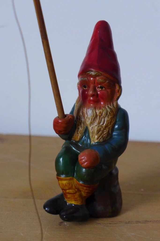 Rare collectible?: Charming Vintage Brentleigh Ware, Staffordshire Pottery, Gnome with fishing rod.