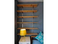 Pine shelves, uprights and brackets