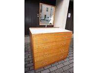 Stylish Retro Mid-Century Dressing table | Formica Top Mirror Staverton DELIVERY CENTRAL EDINBURGH
