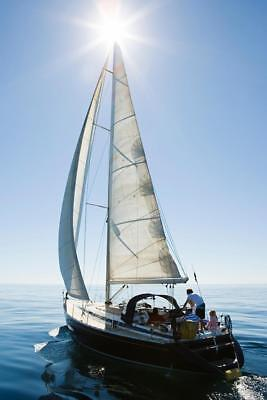 A Family Going Sailing on Sailboat Yacht Photo Art Print Poster 24x36 inch