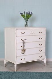 LOUIS FRENCH CHEST DRAWERS PAINTING PROJECT SOLID STURDY JUST NEEDS PAINTING - CAN COURIER