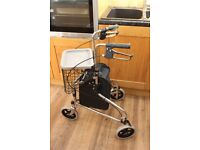 3 Wheel Mobility Walker With Basket And Zip Up Bag VGC