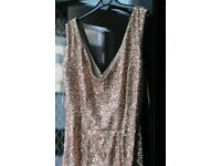Size 10 Long Length Quiz Gold sequins Dress