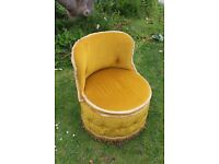 Vintage upholstered round boudoir chair