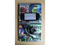 Sony PSP Console + 4 Games - Black - Used, but Great Condition - Includes Hard Case+Original Charger