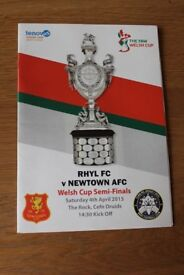 RHYL FC v NEWTOWN AFC WELSH CUP SEMI FINAL OFFICIAL MATCH PROGRAMME