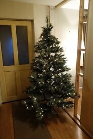 "Artificial Christmas Tree, 6'6"" high, with lights"