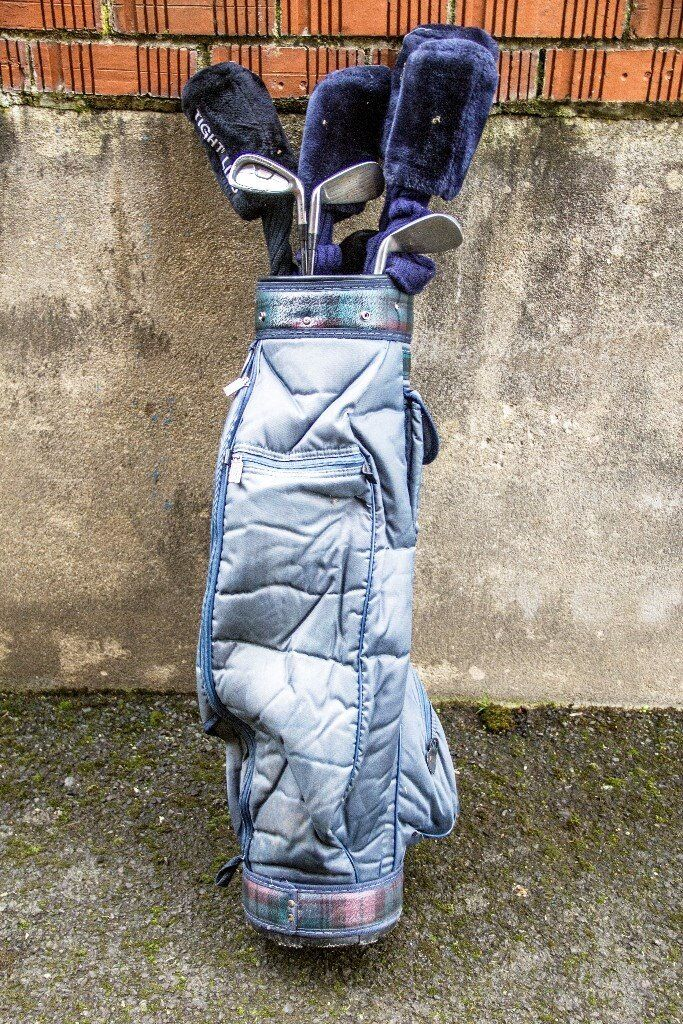 Assorted Golf clubs and bag