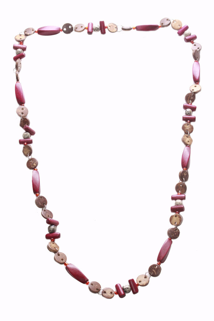 Burgundy Red Wooden Beads /& Brown Button Long Necklace Charismatic Zx194