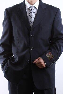 MEN'S SINGLE BREASTED 3 BUTTON NAVY DRESS SUIT SIZE 38S, PL-60513-NAV
