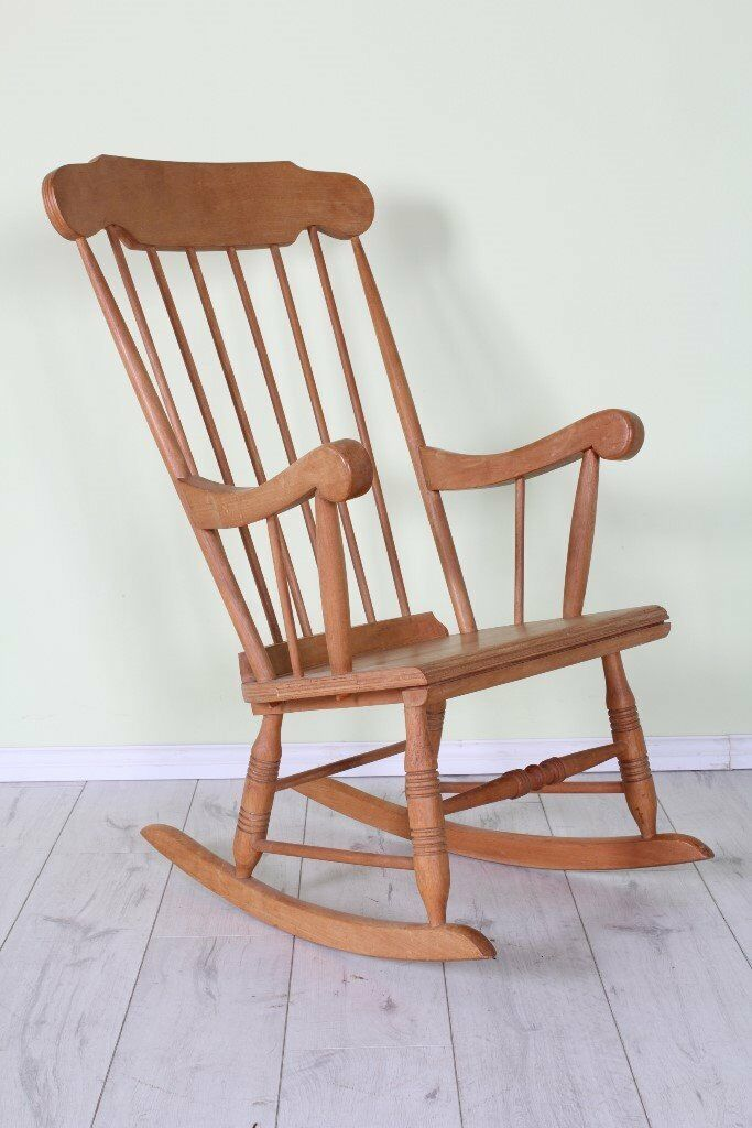 ROCKING CHAIR, BEECH, LIGHT IN COLOUR WAXED FINISH - CAN DELIVER