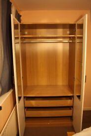 Ikea Wardrove - Oak and White - 100x201x58cm