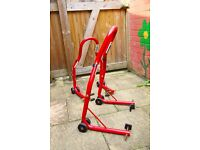 Motorcycle front and rear paddock stand set