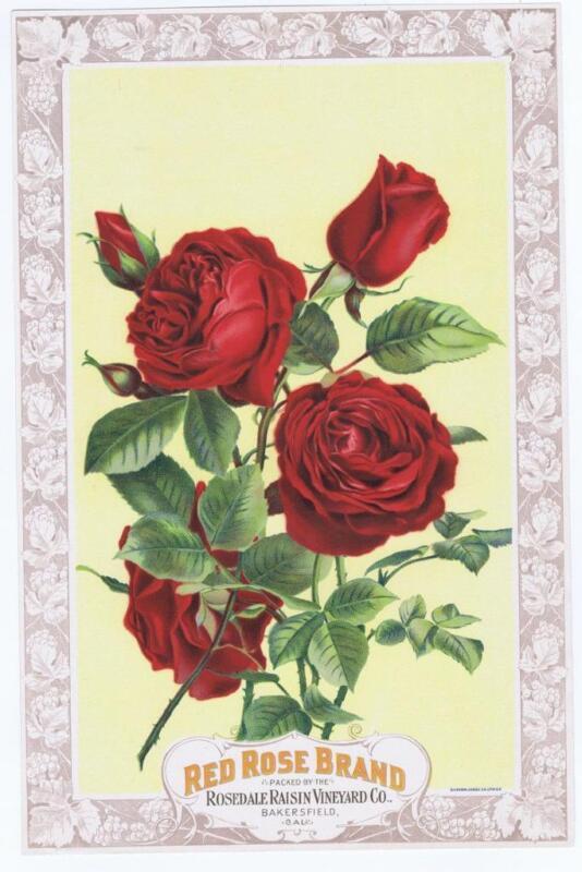 Red Rose  Rosedale raisin vineyard vintage crate label 1890