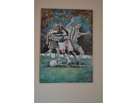"""""""Henrik Larsson the king in action"""", an original oil painting."""