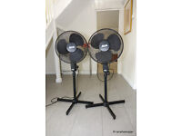 2 x Black REGA 16ins Electric Floor Fans - 3 speed, all adjustable height and tilt